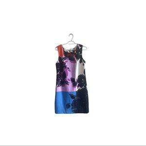 Worthington Shift Floral Colour Block dress